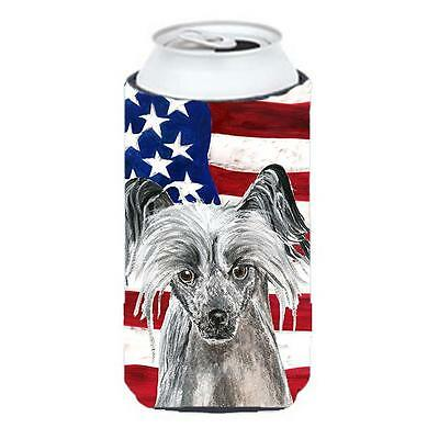 Chinese Crested Usa American Flag Tall Boy bottle sleeve Hugger