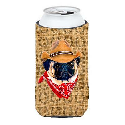 Pug Dog Country Lucky Horseshoe Tall Boy bottle sleeve Hugger