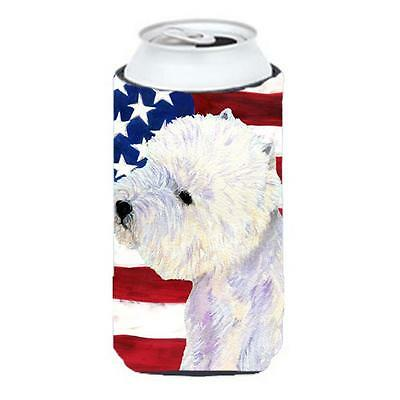 Usa American Flag With Westie Tall Boy bottle sleeve Hugger 22 To 24 Oz.
