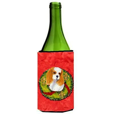 Carolines Treasures Cavalier Spaniel Cristmas Wreath Wine bottle sleeve Hugger