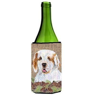 Clumber Spaniel on Faux Burlap with Pine Cones Wine bottle sleeve Hugger 24 oz.