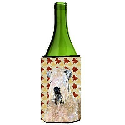 Wheaten Terrier Soft Coated Fall Leaves Portrait Wine bottle sleeve Hugger