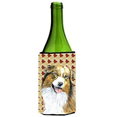 Australian Shepherd Fall Leaves Portrait Wine bottle sleeve Hugger