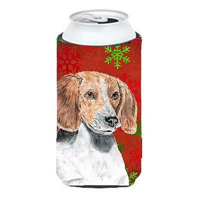 English Foxhound Red Snowflake Christmas Tall Boy bottle sleeve Hugger 22 To ...