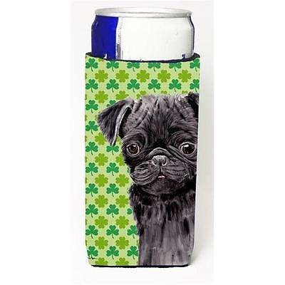 Pug Black St. Patricks Day Shamrock Portrait Michelob Ultra bottle sleeves Fo...