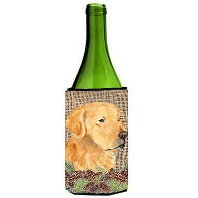 Golden Retriever On Faux Burlap With Pine Cones Wine bottle sleeve Hugger