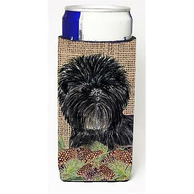 Affenpinscher On Faux Burlap With Pine Cones Michelob Ultra bottle sleeves Fo...