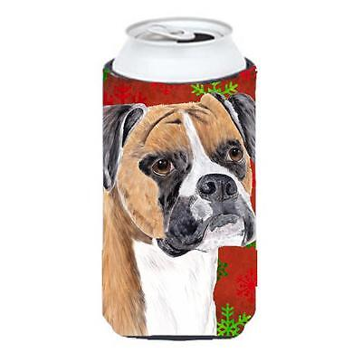 Boxer Red and Green Snowflakes Holiday Christmas Tall Boy Hugger