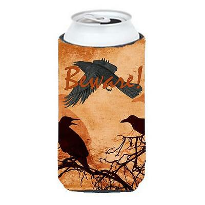 Beware Of The Black Crows Halloween Tall Boy bottle sleeve Hugger 22 To 24 oz.