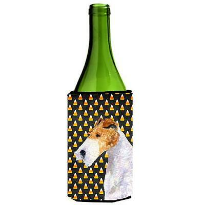 Fox Terrier Candy Corn Halloween Portrait Wine bottle sleeve Hugger 24 Oz.
