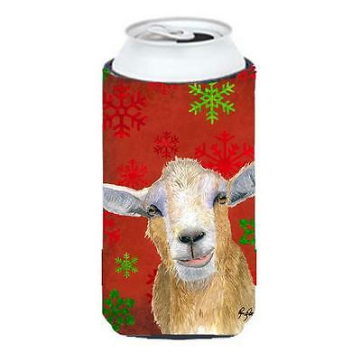 Red Snowflakes Goat Christmas Tall Boy bottle sleeve Hugger 22 To 24 oz.