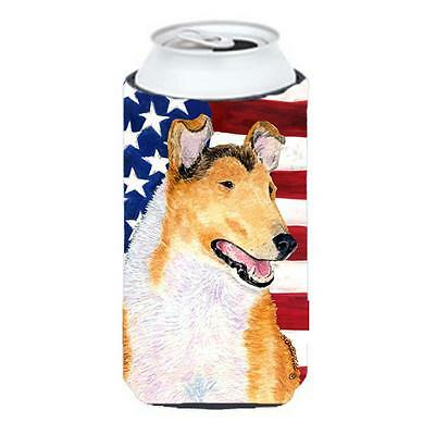Usa American Flag With Collie Smooth Tall Boy bottle sleeve Hugger