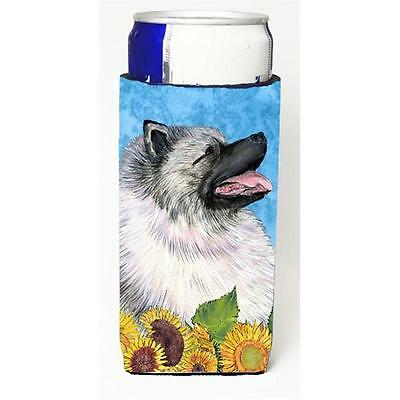 Keeshond in Summer Flowers Michelob Ultra bottle sleeves for slim cans 12 oz.
