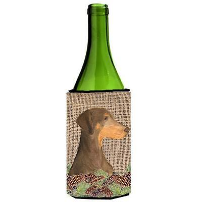 Doberman On Faux Burlap With Pine Cones Wine bottle sleeve Hugger