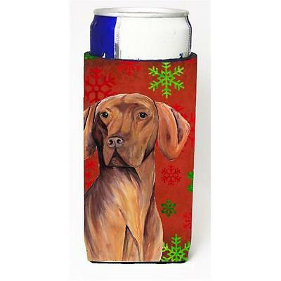 Vizsla Red and Green Snowflakes Holiday Christmas Michelob Ultra s for slim cans