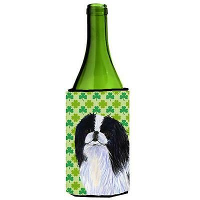 Japanese Chin St. Patricks Day Shamrock Portrait Wine bottle sleeve Hugger 24...