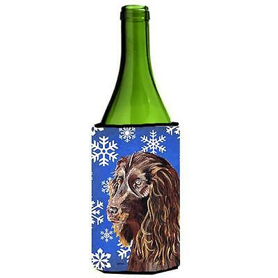Boykin Spaniel Blue Snowflake Winter Wine bottle sleeve Hugger 24 oz.