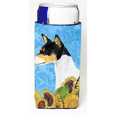 Basenji In Summer Flowers Michelob Ultra bottle sleeves For Slim Cans 12 oz.