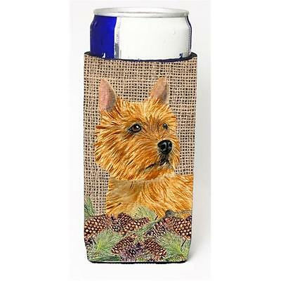 Norwich Terrier on Faux Burlap with Pine Cones Michelob Ultra bottle sleeves ...