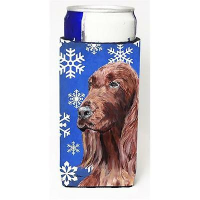 Irish Setter Blue Snowflake Winter Michelob Ultra bottle sleeves For Slim Can...