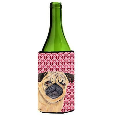 Pug Hearts Love Valentines Day Portrait Wine bottle sleeve Hugger 24 oz.