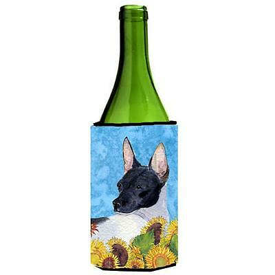Rat Terrier In Summer Flowers Wine bottle sleeve Hugger 24 oz.