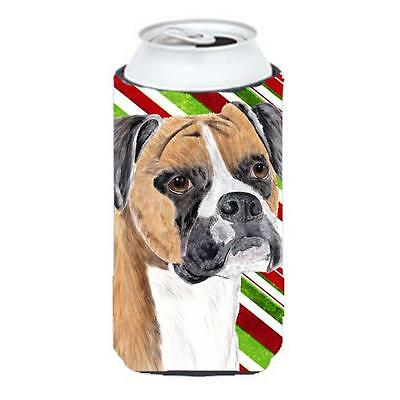 Boxer Candy Cane Holiday Christmas Tall Boy bottle sleeve Hugger 22 To 24 oz.