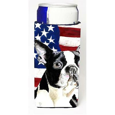 USA American Flag With Boston Terrier Michelob Ultra bottle sleeves For Slim ...