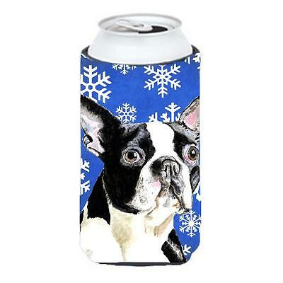 Boston Terrier Winter Snowflakes Holiday Tall Boy bottle sleeve Hugger 22 To ...