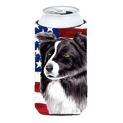 Usa American Flag With Border Collie Tall Boy bottle sleeve Hugger 22 To 24 oz.