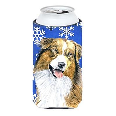 Australian Shepherd Winter Snowflakes Holiday Tall Boy bottle sleeve Hugger 2...