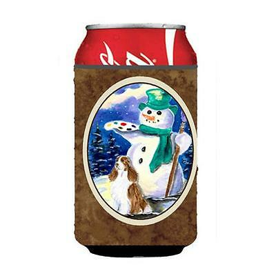 Artist Snowman With Springer Spaniel Can Or bottle sleeve Hugger 12 oz.
