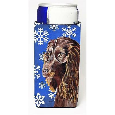 Boykin Spaniel Blue Snowflake Winter Michelob Ultra bottle sleeves For Slim C...