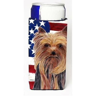 Usa American Flag With Yorkie Michelob Ultra bottle sleeves For Slim Cans 12 oz.