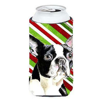 Boston Terrier Candy Cane Holiday Christmas Tall Boy bottle sleeve Hugger 22 ...