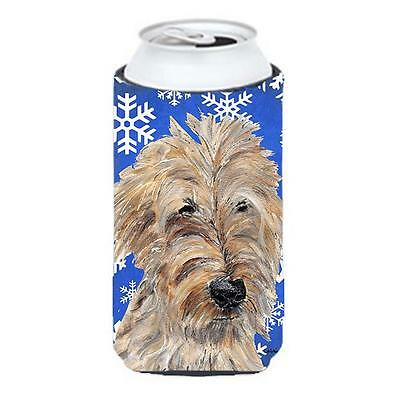 Goldendoodle Blue Snowflake Winter Tall Boy bottle sleeve Hugger 22 To 24 oz.