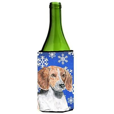 English Foxhound Blue Snowflake Winter Wine bottle sleeve Hugger 24 oz.