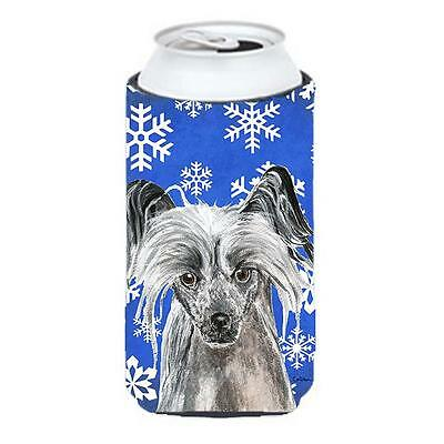 Chinese Crested Blue Snowflake Winter Tall Boy bottle sleeve Hugger 22 To 24 oz.