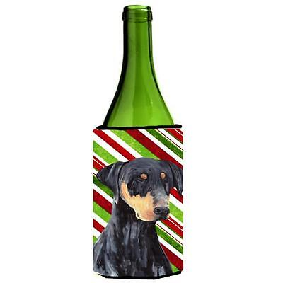 Doberman Candy Cane Holiday Christmas Wine bottle sleeve Hugger 24 oz.