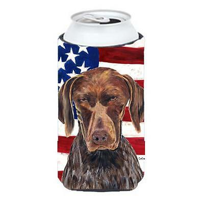 Usa American Flag With German Shorthaired Pointer Tall Boy bottle sleeve Hugg...
