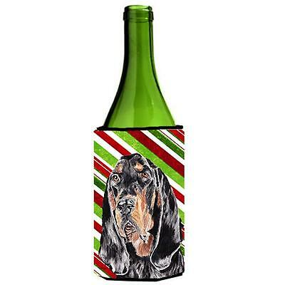 Coonhound Candy Cane Christmas Wine bottle sleeve Hugger 24 oz.