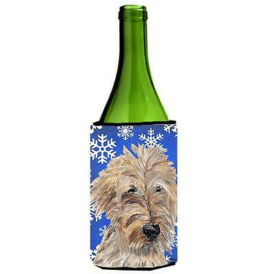 Goldendoodle Blue Snowflake Winter Wine bottle sleeve Hugger 24 oz.