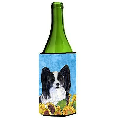 Carolines Treasures Papillon In Summer Flowers Wine bottle sleeve Hugger 24 oz.