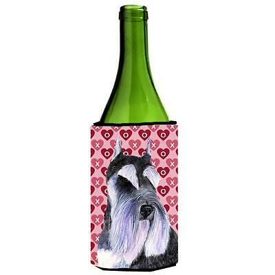 Schnauzer Hearts Love And Valentines Day Portrait Wine bottle sleeve Hugger 2...