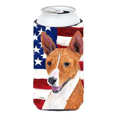 Usa American Flag With Basenji Tall Boy bottle sleeve Hugger 22 To 24 oz.