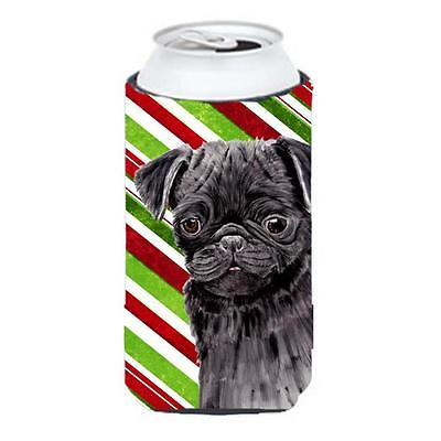Pug Candy Cane Holiday Christmas Tall Boy bottle sleeve Hugger 22 To 24 oz.