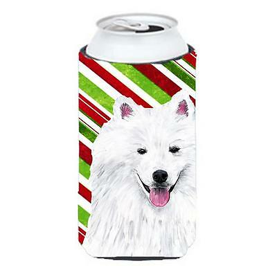 American Eskimo Candy Cane Holiday Christmas Tall Boy bottle sleeve Hugger 22...