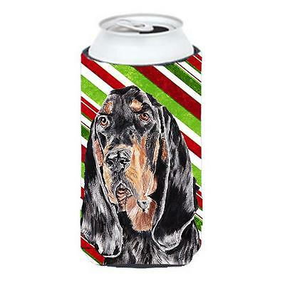 Coonhound Candy Cane Christmas Tall Boy bottle sleeve Hugger 22 To 24 oz.