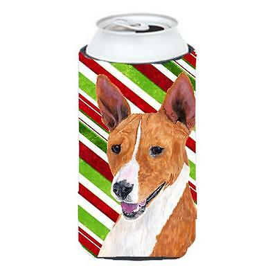 Basenji Candy Cane Holiday Christmas Tall Boy bottle sleeve Hugger 22 To 24 oz.