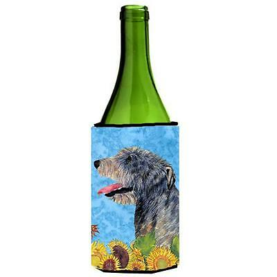 Irish Wolfhound In Summer Flowers Wine bottle sleeve Hugger 24 oz.